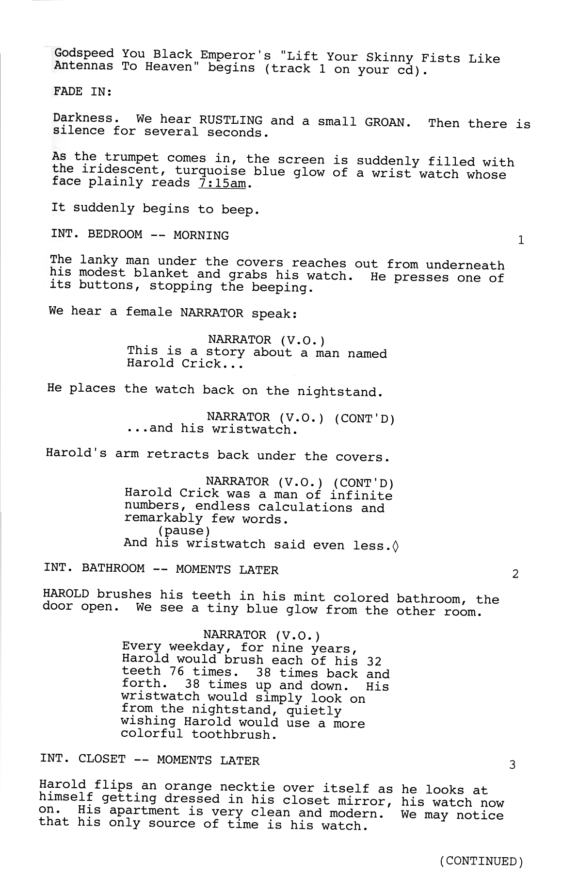 There will be other items in the script but these are the for Free movie script template